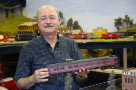 Club secretary Ken Rimmel with a heavyweight passenger car.