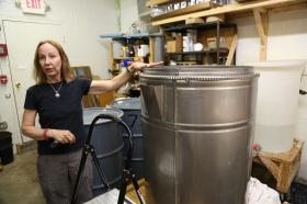 Karen Copeland in the sammysoap factory with a double boiler.