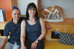 Mauhaus Cat Cafe owners Ben Triola and Dana Huth.
