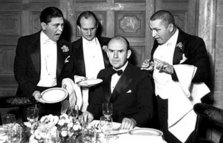 The Stooges with Ted Healy in 1934, three years before his murder.